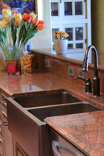 Red granite kitchen