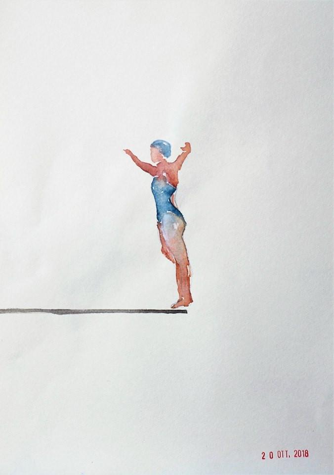The Swimmers, Alketa Bercaj Delishaj Art. Acrylic on paper. I nuotatori, Alketa Bercaj Delishaj Art - Acrilico su carta 2018