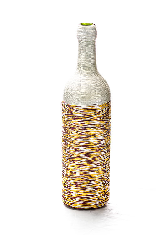 White with Yellow-Brown Mix Wine Bottle Art