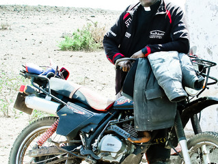 The man behind the motorbike