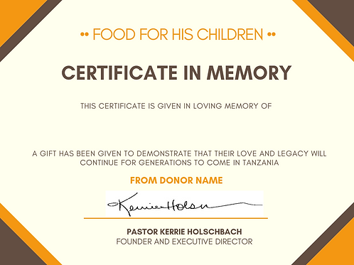 Gift Certificate in Memory of Someone