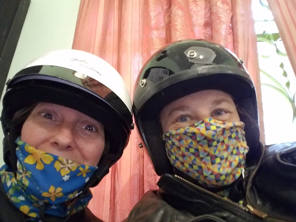 Kerrie and Christine, the masked women