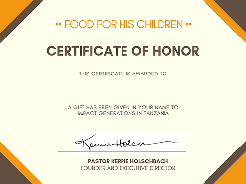 Gift certificate in Honor of Someone
