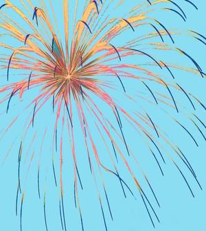 Fireworks on Blue