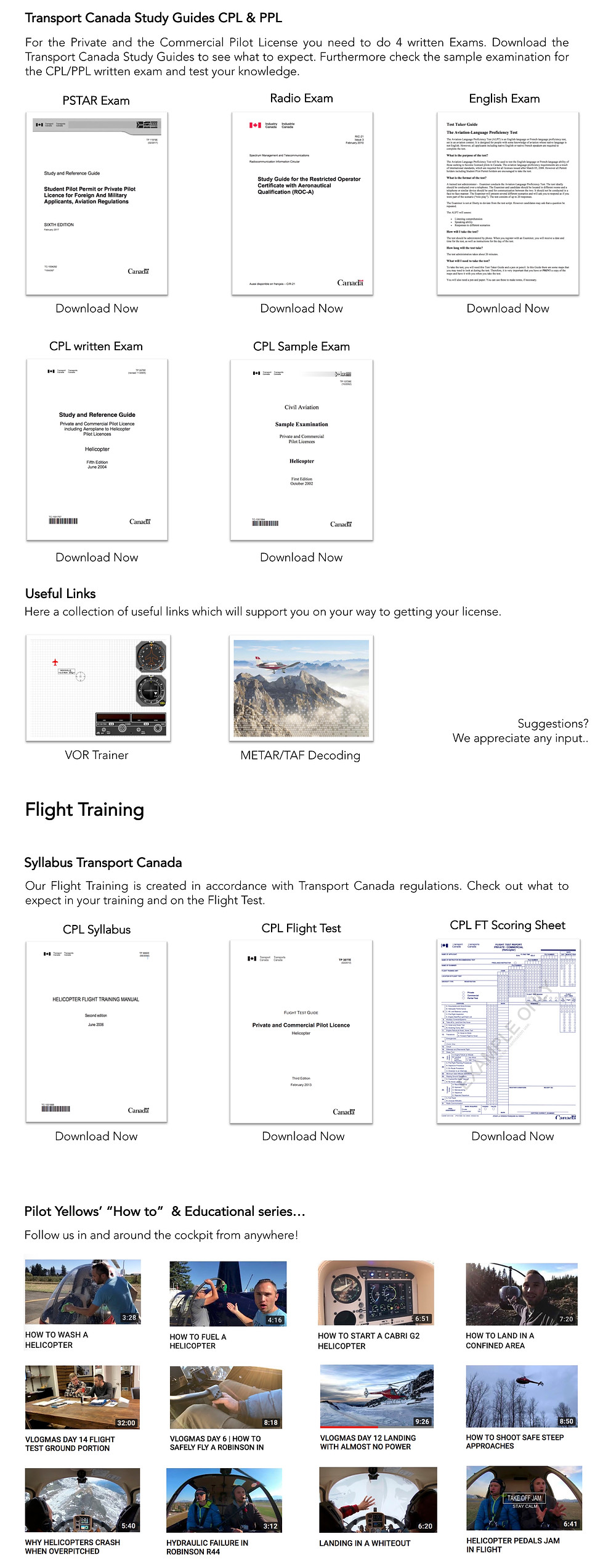Transport Canada helicopter license exams