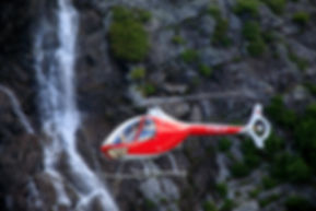 One of BC's many waterfall as a backdrop to the Guimbal Cabri G2
