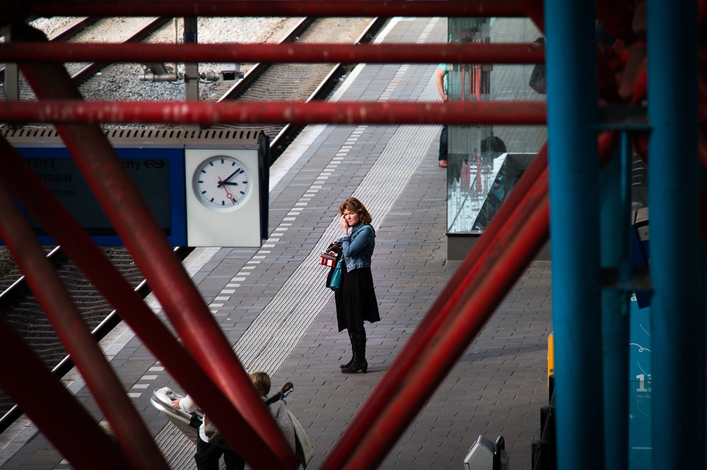 woman waiting for a train