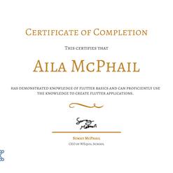 Aila McPhail's Flutter Basics Certification