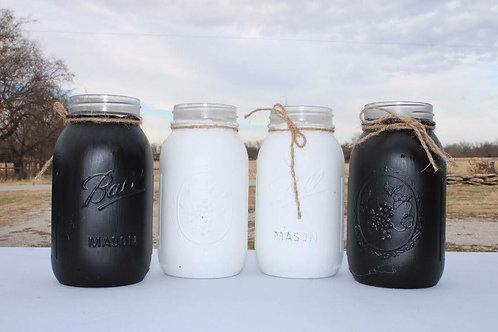 Black & White Mason Jars