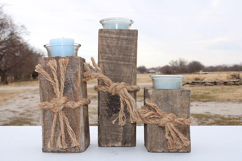 Wooden Blue Candles