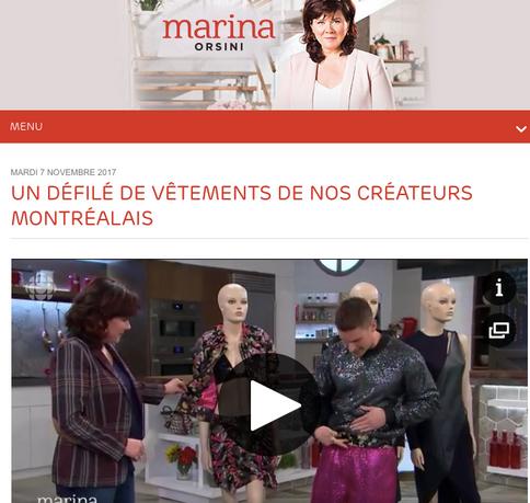 Segment Marina Orsini - UN DÉFILÉ DE VÊTEMENTS DE NOS CRÉATEURS MONTRÉALAIS