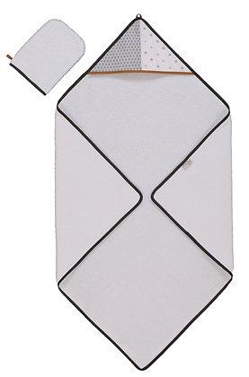 Parure de bain cape de bain 80x80 cm et gant de toilette