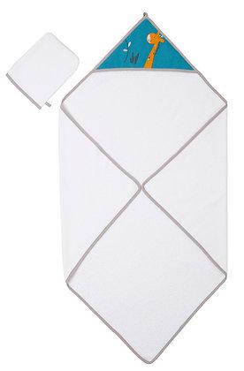 Parure de bain- cape de bain 80x80 cm + Gant