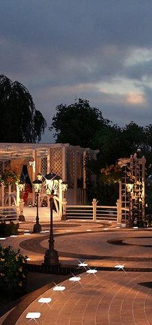 Ландшафтная 3d визуализация, красивые сады, ландшафтный дизайн, беседка, освещение сада, ночное освещение