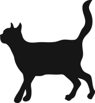 silhouette of walking cat with its tail up and content