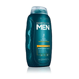 north for men haair and body wash rechar