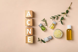 "Cubes with word ""Acne"" and ingredients f"