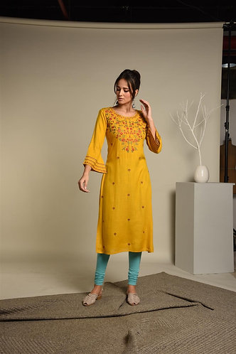 Embroidered Yellow Rayon kurta
