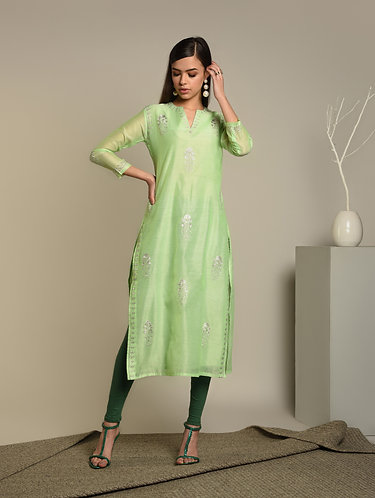 Embridered & Sequenced Minty green Chanderi Silk Kurta