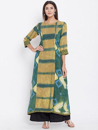 Tie & Dye Long Green Kurta