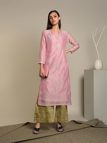 Embroidered & sequenced Pink Chanderi silk kurta.