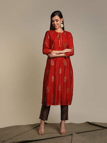Red Chaderi Khari kurta w/gota patti work