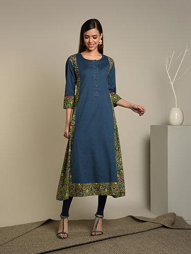 "Kalamkari & Blue Linen 'A"" Line kurta"