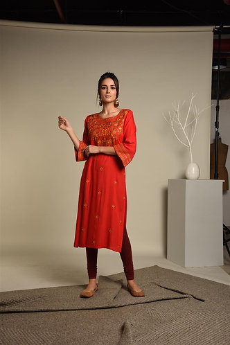 Embridered Red Rayon Kurta