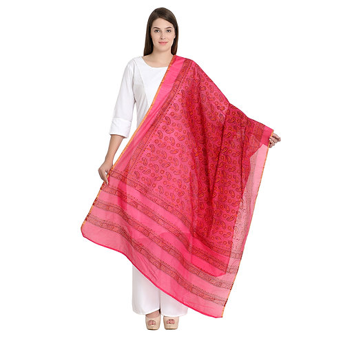 Chanderi red h/blk printed dupatta