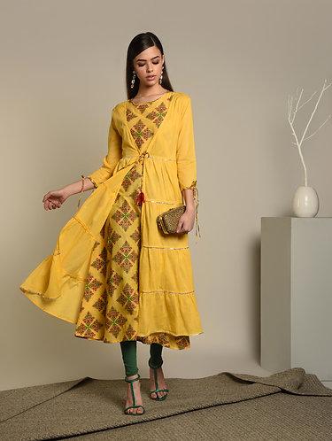 Mango Yellow 2Pc Hand Block Layer kurta