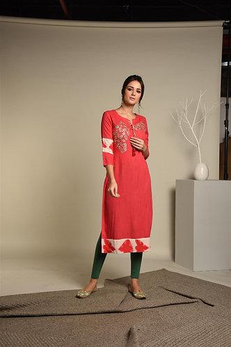 Red Tie & Dye - Gota Patti Rayon Kurta