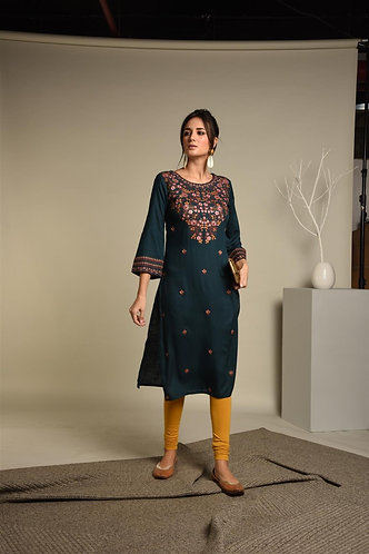 Embrided Teal Blue Rayon kurta