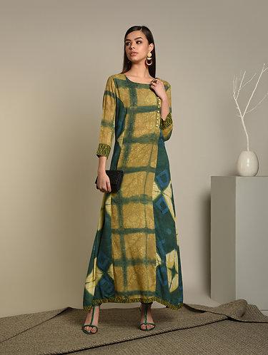 Green Tye & Dye Floor length dress on Rayon Fabric