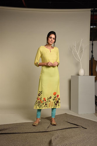 Painted & Seq. Lemon Yellow Rayon Kurta