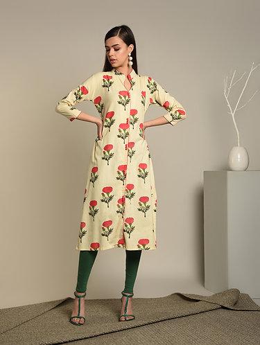 Flowery printed Linen Twill kurta