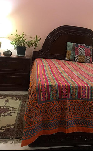 Kantha Work Double ,Embroided Bedcover