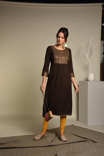 Brown Gold Khari Rayon Kurta