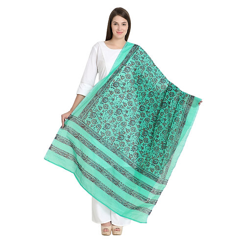 Chanderi green h/blk printed dupatta