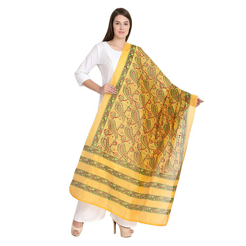 Chanderi yellow h/blk printed dupatta