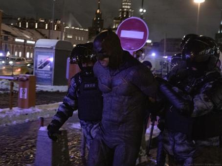Batman got arrested in a Russian Protest