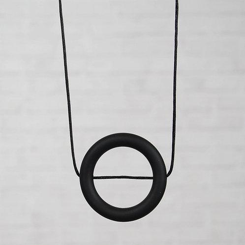 HALSKETTING SILICONE cirkel zwart