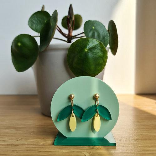 GROW oorbellen klokje groen-geel