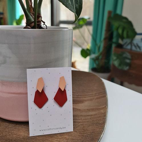 OORSTEKERS met onregelmatige vorm - nude/rood