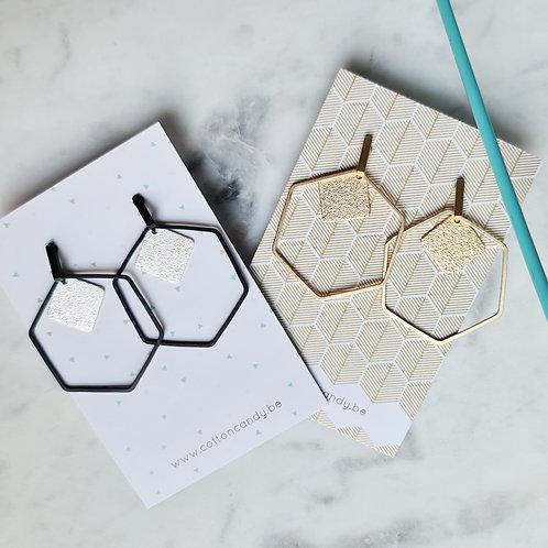 OORSTEKERS fijn staafje met grote zeshoek en vierkantje