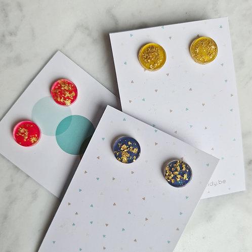 OORSTEKERS kleur met goudvlokken