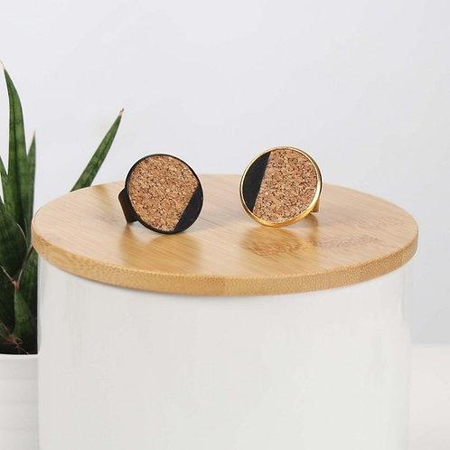 RING met kurk neutraal gespikkeld/zwart
