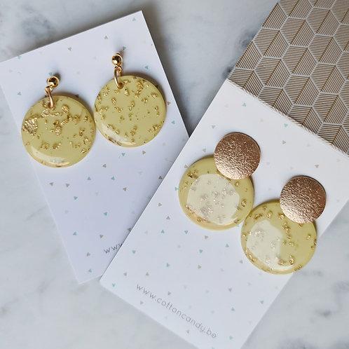 OORSTEKERS met ronde hanger limoen + goud