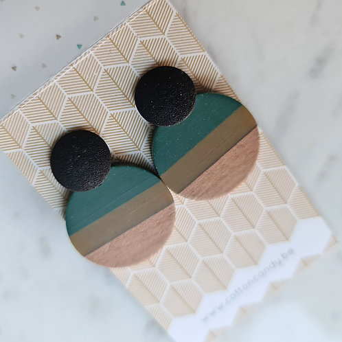OORSTEKERS met ronde hanger donkergroen