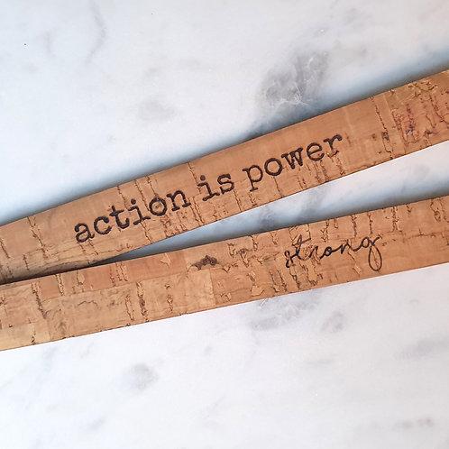 ARMBAND uit kurkleer 'bamboo' met tekst - enkel