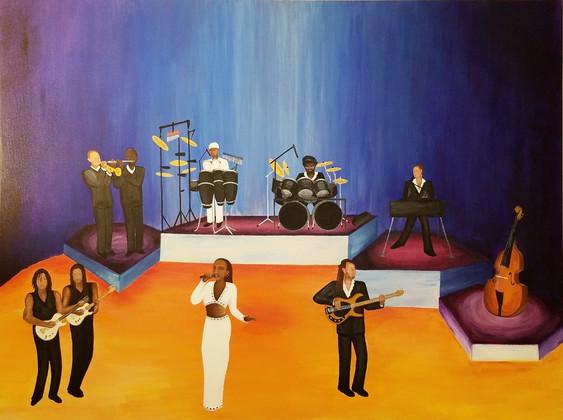 Music Acrylic and Embellishments on Canvas 4' x 3'